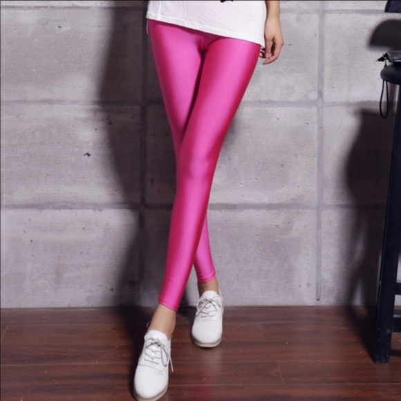 Pants - 🎀Pink Fluorescent Shiny Glossy Leggings🎀